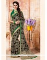 Snazzy Multi Colour Print Work Faux Crepe Casual Saree
