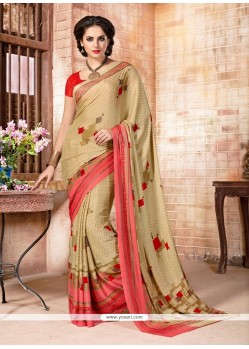 Specialised Faux Crepe Print Work Casual Saree