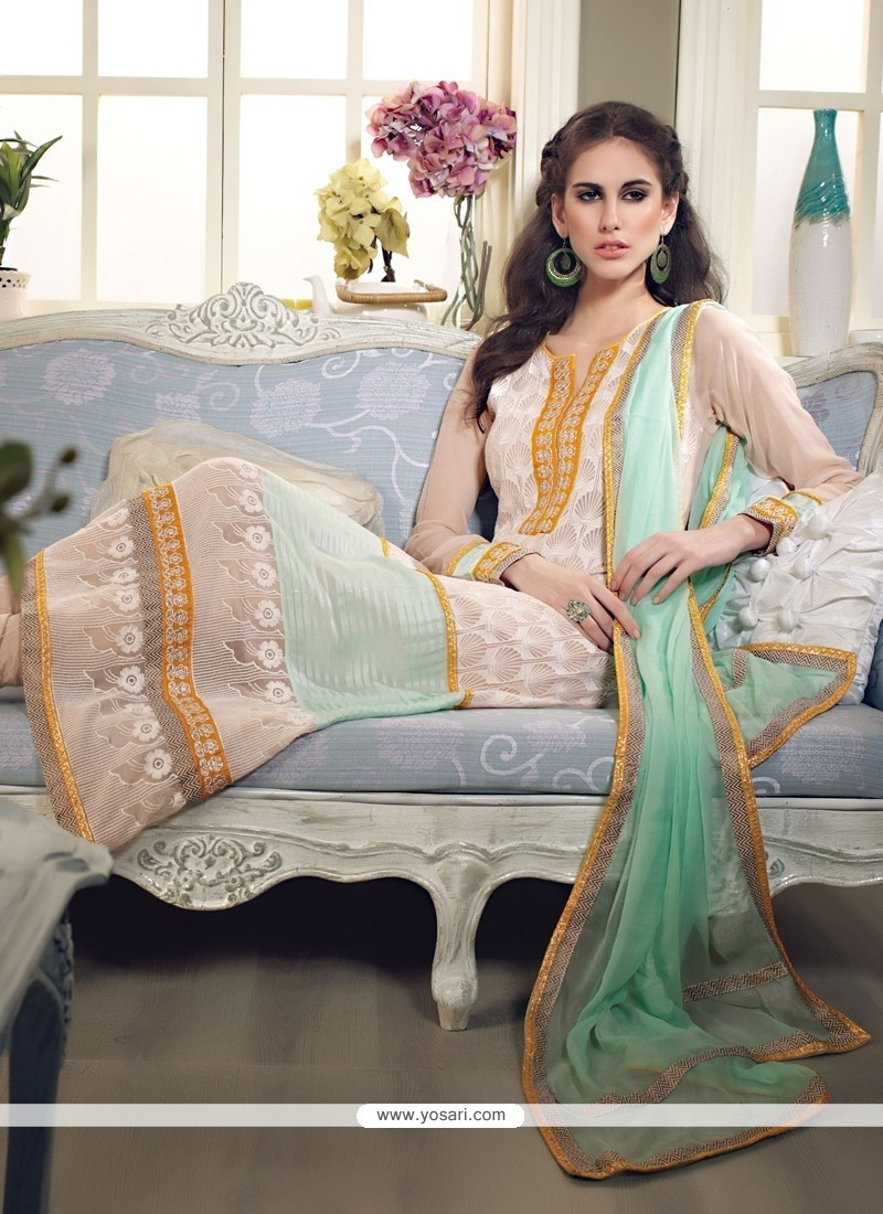 Dazzling Cream Georgette Long Straight Suit