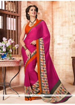 Eye-catchy Faux Crepe Print Work Casual Saree