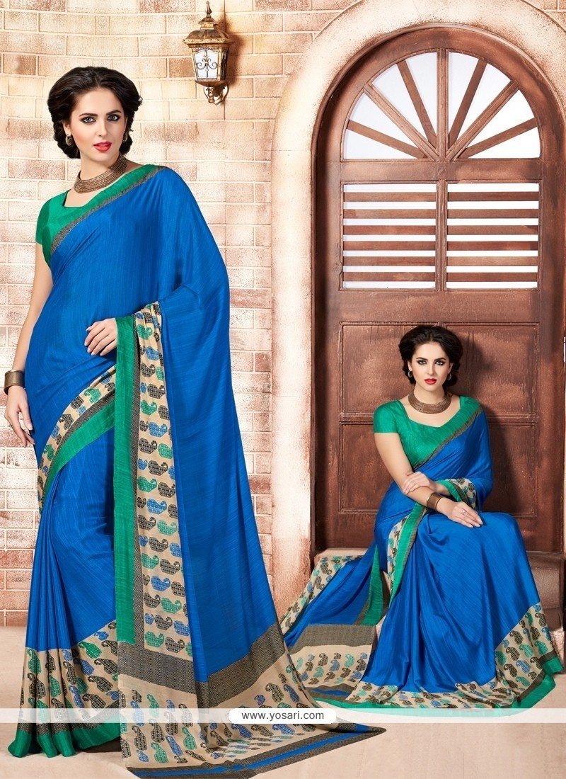 Sonorous Print Work Faux Crepe Casual Saree
