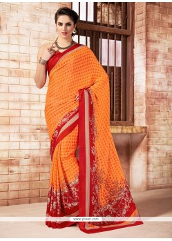 Stupendous Faux Crepe Orange Print Work Casual Saree