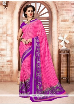 Impeccable Faux Crepe Print Work Casual Saree