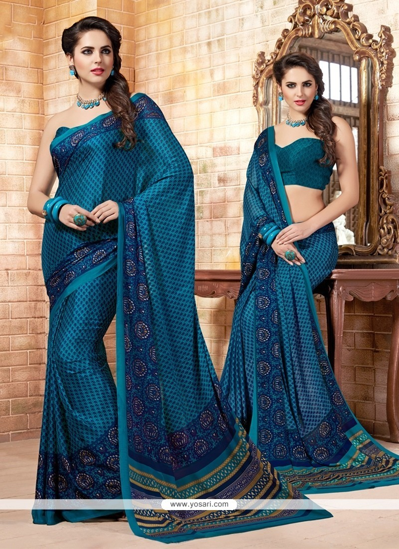 Perfect Print Work Multi Colour Faux Crepe Casual Saree