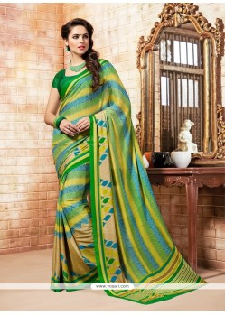 Imperial Faux Crepe Print Work Casual Saree