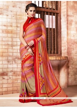 Lively Multi Colour Print Work Casual Saree