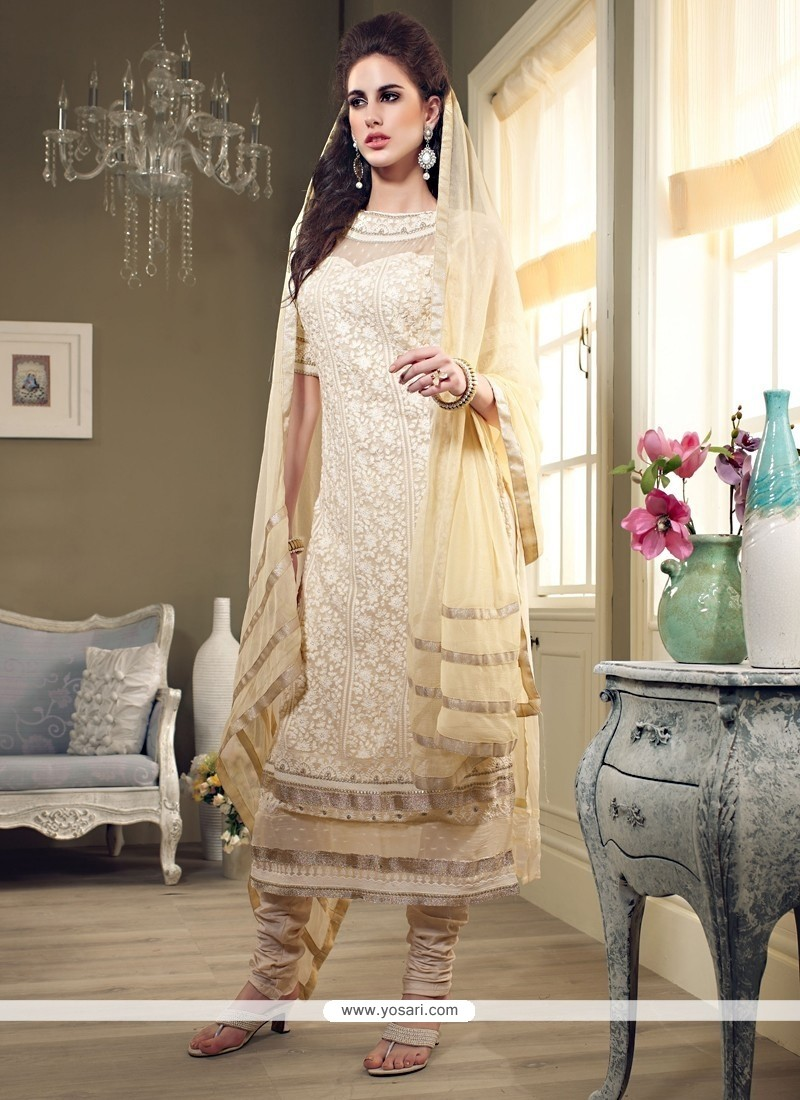 Amazing Cream Georgette Long Straight Suit