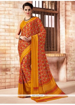 Baronial Faux Crepe Print Work Casual Saree