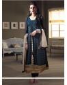 Blue Georgette Long Straight Suit