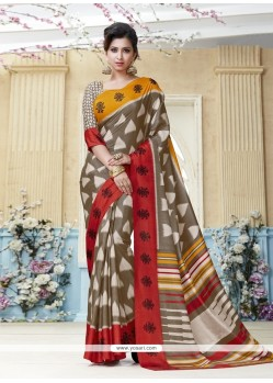 Remarkable Kanchipuram Silk Print Work Casual Saree