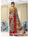 Remarkable Kanchipuram Silk Print Work Casual Saree