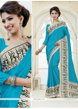 Distinctively Kanchipuram Silk Print Work Casual Saree