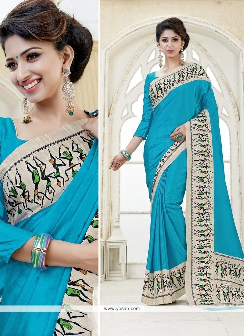 Distinctively Kanchipuram Silk Print Work Casual Saree