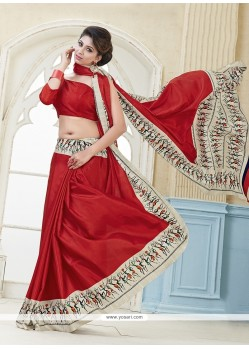 Engrossing Red Print Work Kanchipuram Silk Casual Saree