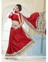 Engrossing Red Print Work Kanchipuram Silk Casual Saree