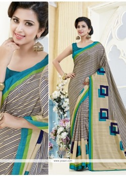Congenial Kanchipuram Silk Print Work Casual Saree