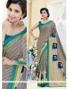 Congenial Kanchipuram Silk Print Work Casual Saree