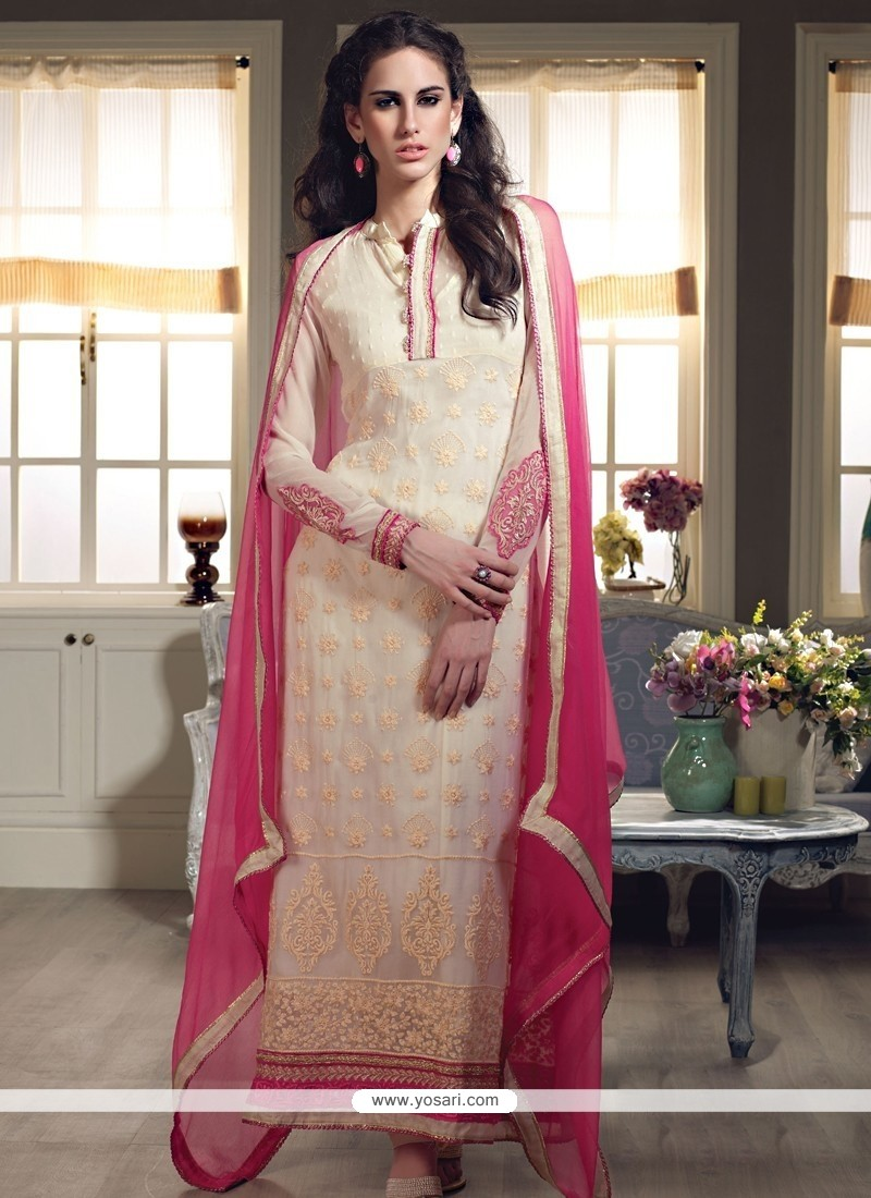Cream Georgette Long Straight Suit