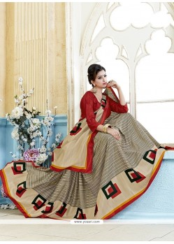 Nice Multi Colour Print Work Kanchipuram Silk Casual Saree