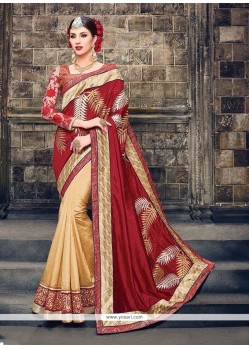 Customary Beige And Red Raw Silk Classic Designer Saree