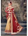 Customary Beige And Red Raw Silk Classic Designer Saree