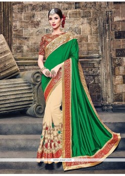 Miraculous Patch Border Work Raw Silk Traditional Designer Sarees