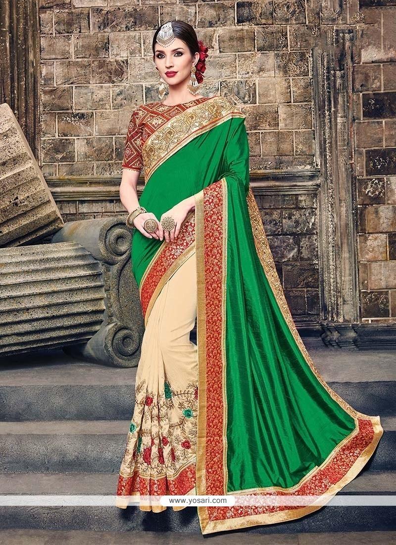 Miraculous Patch Border Work Raw Silk Traditional Designer Sarees