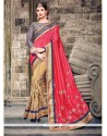 Distinctively Beige Patch Border Work Raw Silk Classic Saree