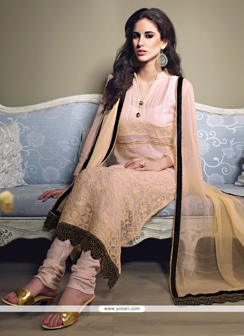 Radiant Cream Georgette Long Straight Suit