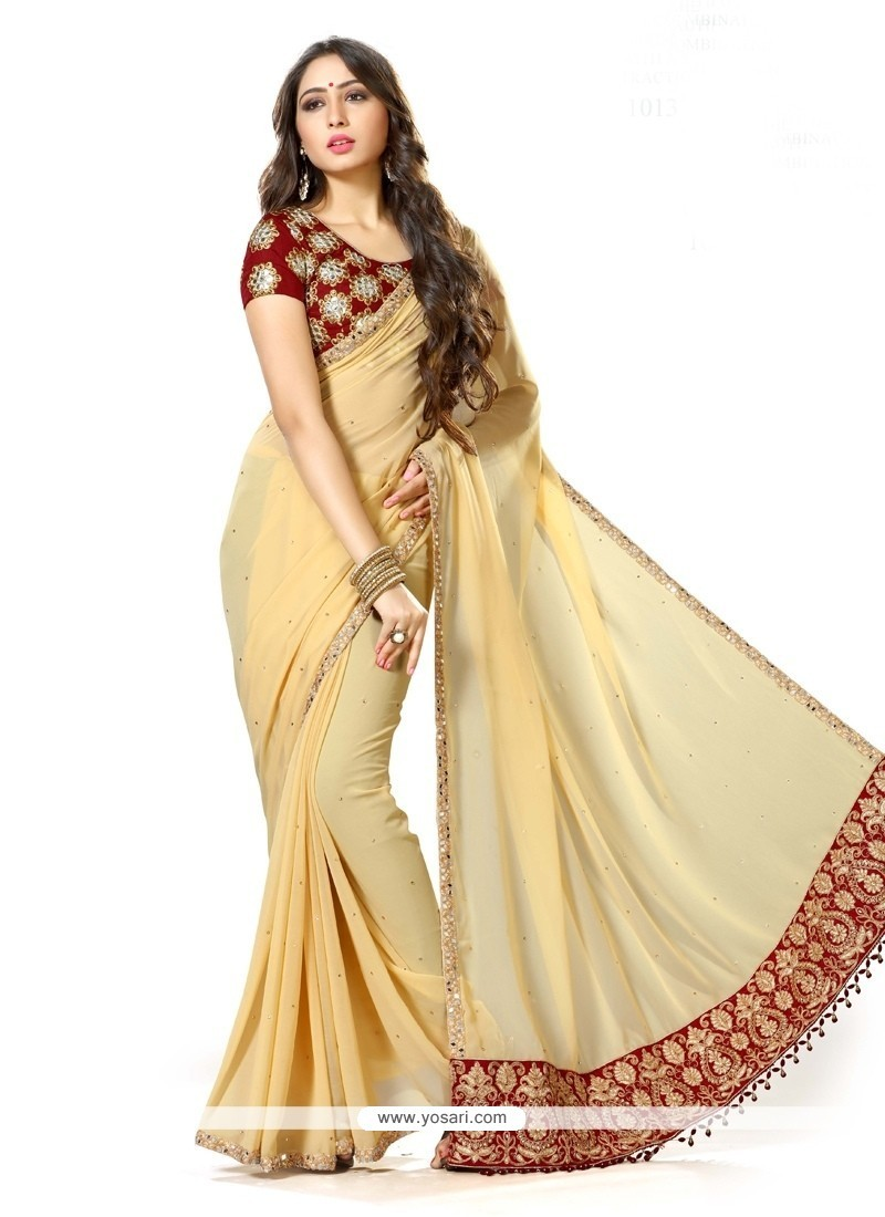 Peppy Georgette Patch Border Work Traditional Designer Sarees