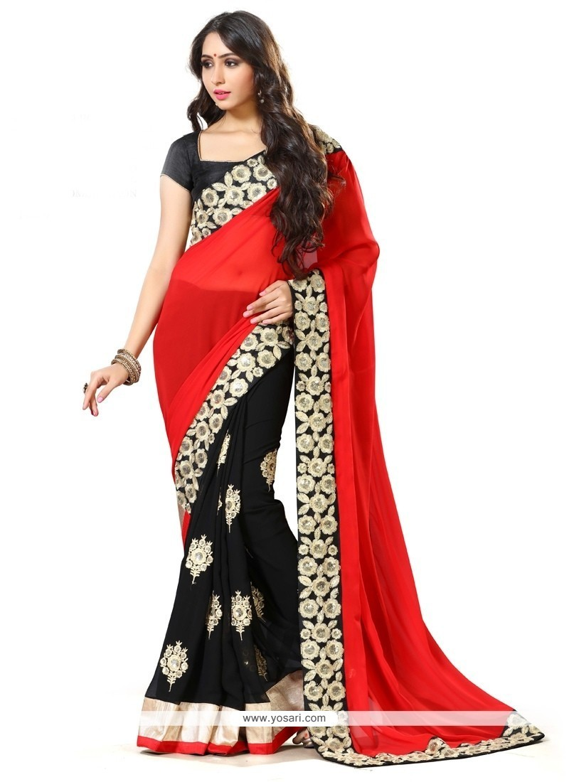 Irresistible Black And Red Embroidered Work Georgette Traditional Saree