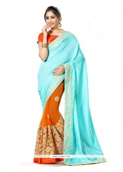 Trendy Net Orange Classic Designer Saree