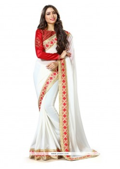 Magnetize Georgette Off White Traditional Saree