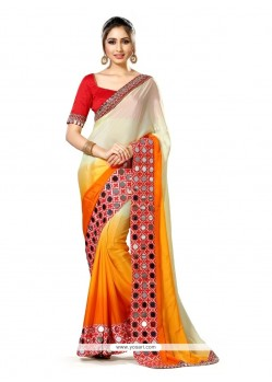 Magnificent Multi Colour Mirror Work Art Silk Classic Designer Saree