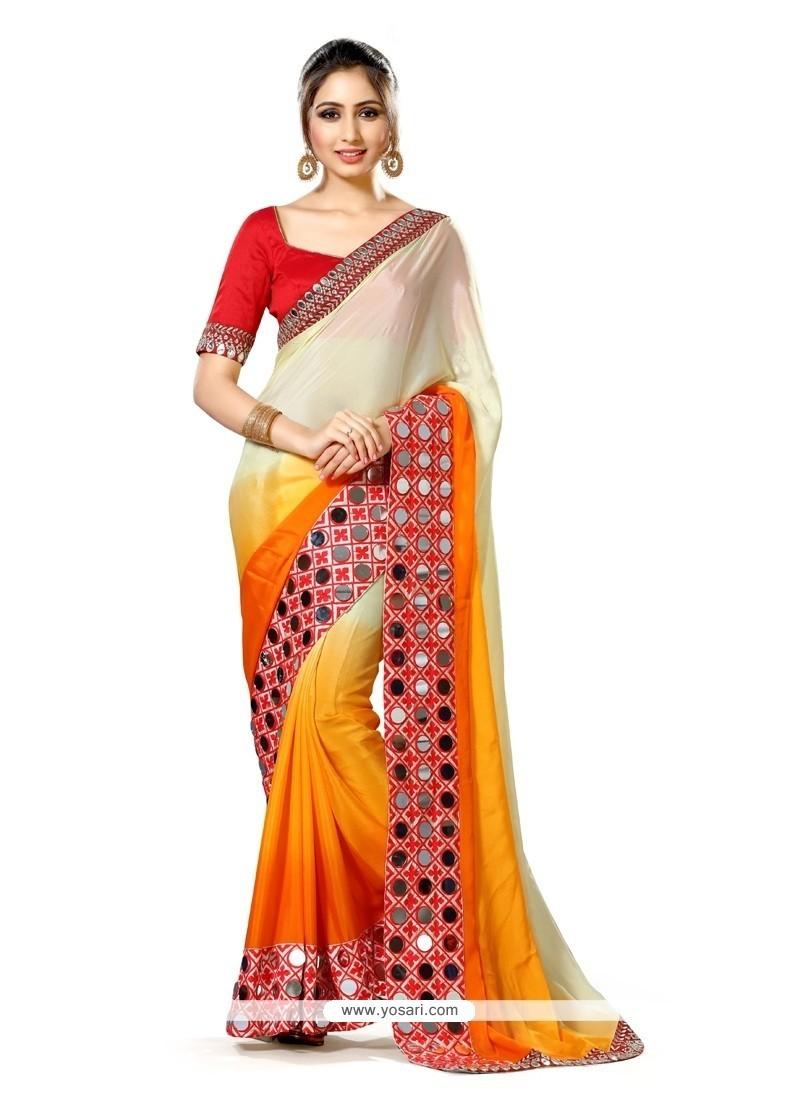 Magnificent Multi Colour Mirror Work Art Silk Classic Designer Saree