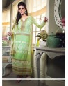 Fabulose Green Georgette Long Straight Suit