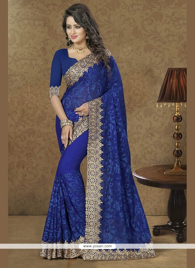 Mystical Georgette Navy Blue Patch Border Work Classic Designer Saree