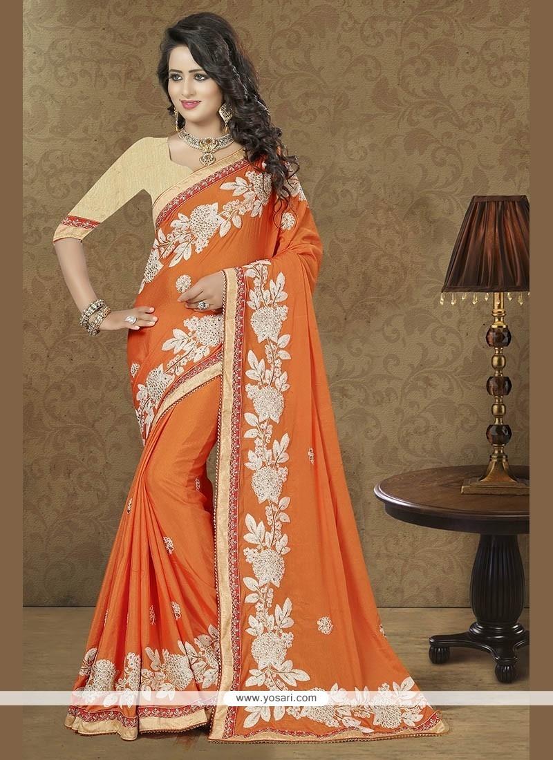 Patch Border Faux Chiffon Trendy Saree In Orange