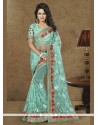 Irresistible Sea Green Patch Border Work Classic Designer Saree