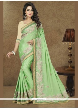 Awesome Faux Chiffon Embroidered Work Trendy Saree