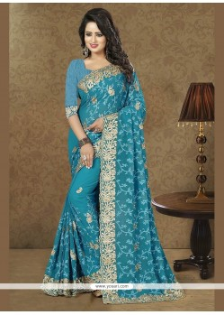 Affectionate Georgette Blue Designer Traditional Sarees