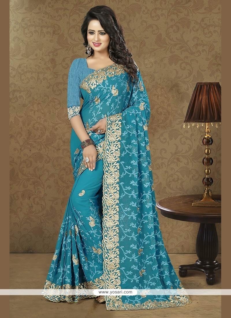 Affectionate Georgette Blue Designer Traditional Sarees