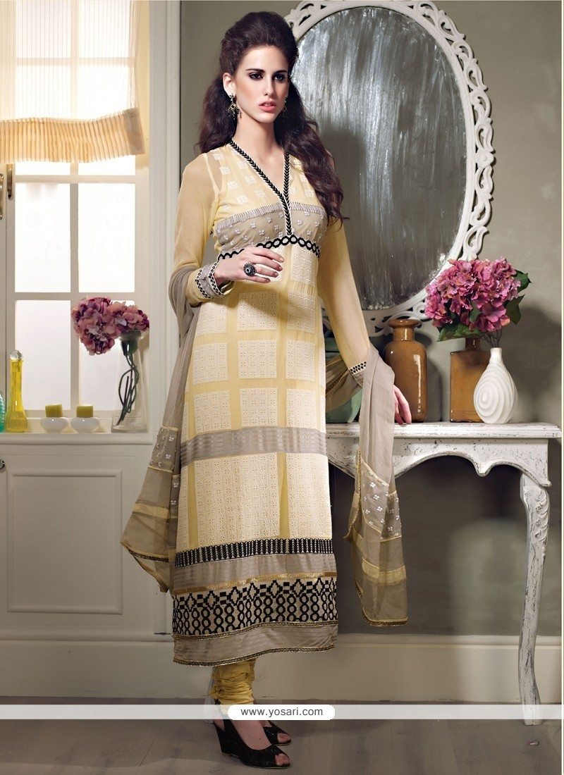 Yellow Georgette Long Straight Suit
