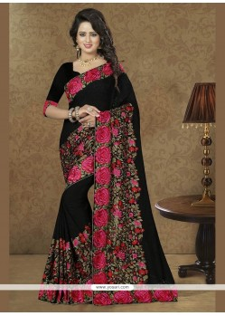 Floral Georgette Patch Border Work Classic Designer Saree