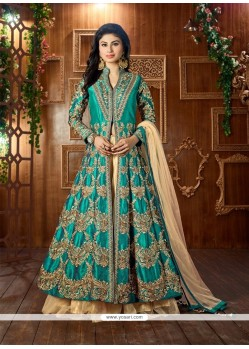 Mod Tafeta Silk Sea Green Lehenga Choli