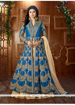 Dashing Resham Work Turquoise Tafeta Silk Lehenga Choli