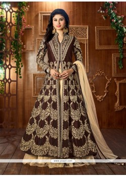 Embroidered Net Lehenga Choli In Brown