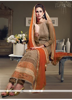 Splendid Brown Georgette Long Straight Suit