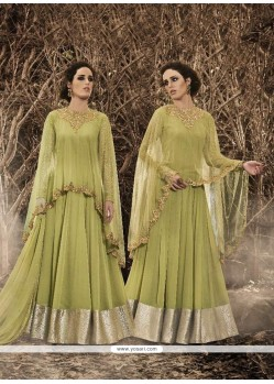 Opulent Embroidered Work Green Designer Floor Length Salwar Suit