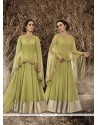 Opulent Embroidered Work Green Designer Floor Length Salwar Suit